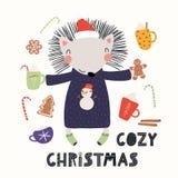 Χαριτωμένη κάρτα Χριστουγέννων σκαντζόχοιρων ελεύθερη απεικόνιση δικαιώματος