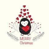 Χαριτωμένη κάρτα penguin Χριστουγέννων Διανυσματική απεικόνιση