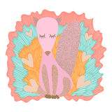Χαριτωμένη και λατρευτή ρόδινη απεικόνιση αλεπούδων Foxie Στοκ εικόνα με δικαίωμα ελεύθερης χρήσης