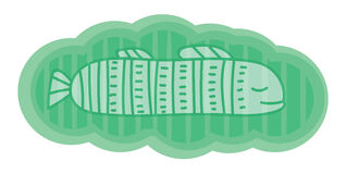 Χαριτωμένη και φανταστική απεικόνιση Διαφανή άσπρα ψάρια στο πράσινο σύννεφο Στοιχείο για την κάρτα, έμβλημα Στοκ Εικόνες