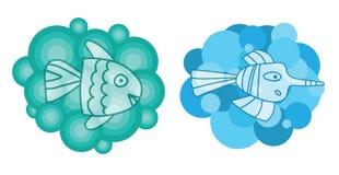 Χαριτωμένη και φανταστική απεικόνιση δύο Διαφανή άσπρα ψάρια στο σύννεφο Στοιχείο για την κάρτα, έμβλημα Στοκ Φωτογραφία