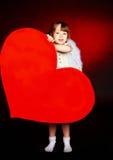 χαριτωμένη καρδιά κοριτσιώ Στοκ Εικόνες