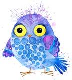 χαριτωμένη κουκουβάγια Απεικόνιση watercolor κουκουβαγιών Τυπωμένη ύλη μπλουζών κουκουβαγιών χαιρετισμός καλή χρονιά καρτών του 2 ελεύθερη απεικόνιση δικαιώματος