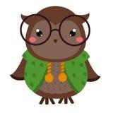 χαριτωμένη κουκουβάγια Ζωικός χαρακτήρας kawaii κινούμενων σχεδίων Διανυσματική απεικόνιση για τη μόδα παιδιών και μωρών απεικόνιση αποθεμάτων