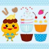 Χαριτωμένη κούκλα εγγράφου Cupcake Στοκ Εικόνα