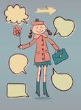 Χαριτωμένη κυρία κινούμενων σχεδίων με τις λεκτικές doodle φυσαλίδες Στοκ φωτογραφία με δικαίωμα ελεύθερης χρήσης