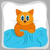 Χαριτωμένη κόκκινη γάτα που προσπαθεί να αναρριχηθεί στον καναπέ απεικόνιση αποθεμάτων