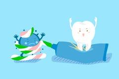 Χαριτωμένη κόλλα χρήσης δοντιών κινούμενων σχεδίων Στοκ Φωτογραφία