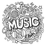 Χαριτωμένη λέξη μουσικής doodles κινούμενων σχεδίων Στοκ Εικόνες