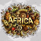 Χαριτωμένη λέξη της Αφρικής doodles κινούμενων σχεδίων Στοκ Εικόνα