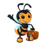Χαριτωμένη μέλισσα κινούμενων σχεδίων με τη βαλίτσα Στοκ Φωτογραφίες