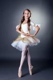 Χαριτωμένη μακρυμάλλης τοποθέτηση ballerina στη κάμερα στοκ φωτογραφίες