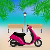 Χαριτωμένη μοτοσικλέτα στην παραλία, κλάδοι των φοινίκων, πάγκοι, λαμπτήρας οδών επίσης corel σύρετε το διάνυσμα απεικόνισης ελεύθερη απεικόνιση δικαιώματος