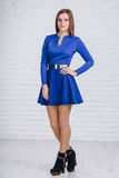 Χαριτωμένη νέα γυναίκα στο μπλε ναυτικό φόρεμα στο άσπρο υπόβαθρο Στοκ Εικόνα
