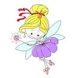 Χαριτωμένη νεράιδα χαρακτήρα κινουμένων σχεδίων Νεράιδα λουλουδιών με μια μαγική ράβδο Μυθικό πλάσμα με τα φτερά Διανυσματικό σχέ Στοκ φωτογραφία με δικαίωμα ελεύθερης χρήσης