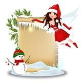 Χαριτωμένη νεράιδα Χριστουγέννων με το κενό έγγραφο διανυσματική απεικόνιση
