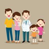 Χαριτωμένη οικογένεια με το μωρό και το γιατρό απεικόνιση αποθεμάτων