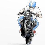 Χαριτωμένη οδηγώντας μοτοσικλέτα αγοριών κινούμενων σχεδίων διανυσματική απεικόνιση