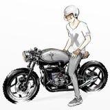 Χαριτωμένη οδηγώντας μοτοσικλέτα αγοριών κινούμενων σχεδίων Στοκ εικόνα με δικαίωμα ελεύθερης χρήσης