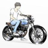 Χαριτωμένη οδηγώντας μοτοσικλέτα αγοριών κινούμενων σχεδίων Στοκ Φωτογραφίες