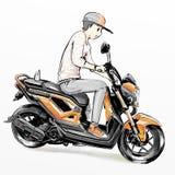 Χαριτωμένη οδηγώντας μοτοσικλέτα αγοριών κινούμενων σχεδίων Στοκ Εικόνες
