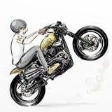 Χαριτωμένη οδηγώντας μοτοσικλέτα αγοριών κινούμενων σχεδίων απεικόνιση αποθεμάτων