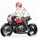 Χαριτωμένη οδηγώντας μοτοσικλέτα αγοριών κινούμενων σχεδίων Στοκ Εικόνα