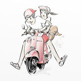 Χαριτωμένη οδηγώντας μοτοσικλέτα ζευγών διανυσματική απεικόνιση