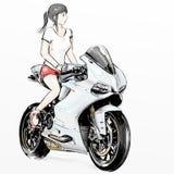 Χαριτωμένη οδηγώντας μοτοσικλέτα κοριτσιών κινούμενων σχεδίων Στοκ Εικόνες