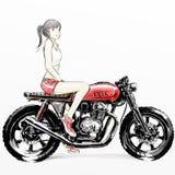 Χαριτωμένη οδηγώντας μοτοσικλέτα κοριτσιών κινούμενων σχεδίων απεικόνιση αποθεμάτων