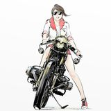 Χαριτωμένη οδηγώντας μοτοσικλέτα κοριτσιών κινούμενων σχεδίων Στοκ εικόνα με δικαίωμα ελεύθερης χρήσης