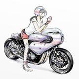 Χαριτωμένη οδηγώντας μοτοσικλέτα κοριτσιών ελεύθερη απεικόνιση δικαιώματος