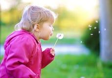 Χαριτωμένη πικραλίδα χτυπήματος παιδιών υπαίθρια στοκ φωτογραφία με δικαίωμα ελεύθερης χρήσης