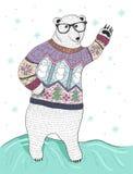 Χαριτωμένη πολική αρκούδα hipster με τα γυαλιά Στοκ εικόνα με δικαίωμα ελεύθερης χρήσης