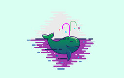 Χαριτωμένη πράσινη φάλαινα Στοκ Εικόνες