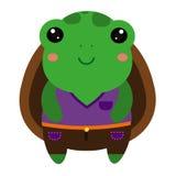 χαριτωμένη πράσινη χελώνα Ζωικός χαρακτήρας kawaii κινούμενων σχεδίων απεικόνιση αποθεμάτων