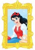 Χαριτωμένη πριγκήπισσα και μαγικός καθρέφτης απεικόνιση αποθεμάτων