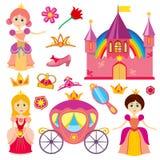 Χαριτωμένη πριγκήπισσα παραμυθιού, ρόδινη μεταφορά, κορώνα, κάστρο, διανυσματικό σύνολο τιαρών μικρών κοριτσιών κινούμενων σχεδίω διανυσματική απεικόνιση