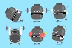 Χαριτωμένη πρωτεΐνη ορρού γάλακτος κινούμενων σχεδίων ελεύθερη απεικόνιση δικαιώματος