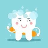 Χαριτωμένη πλύση χαρακτήρα δοντιών κινούμενων σχεδίων ο ίδιος, οδοντική διανυσματική απεικόνιση για τα παιδιά Στοκ Φωτογραφία