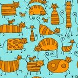 Χαριτωμένη ριγωτή οικογένεια γατών, άνευ ραφής σχέδιο για το σχέδιό σας Στοκ Εικόνες