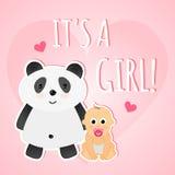 Χαριτωμένη ροζ κάρτα ντους χαιρετισμού αυτό ` s ένα κορίτσι Στοκ εικόνα με δικαίωμα ελεύθερης χρήσης