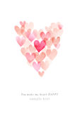 Χαριτωμένη ρομαντική κάρτα Watercolor με την καρδιά Στοκ φωτογραφία με δικαίωμα ελεύθερης χρήσης