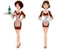 Χαριτωμένη σερβιτόρα δύο Στοκ Φωτογραφίες