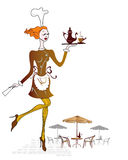 χαριτωμένη σερβιτόρα διανυσματική απεικόνιση