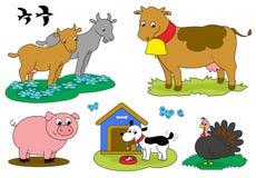 Χαριτωμένη συλλογή 2 ζώων αγροκτημάτων κινούμενων σχεδίων Στοκ Εικόνες