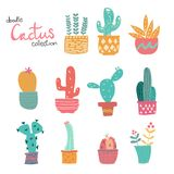 Χαριτωμένη συλλογή κάκτων κρητιδογραφιών doodle συρμένη χέρι ελεύθερη απεικόνιση δικαιώματος
