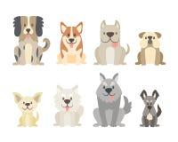 Χαριτωμένη συλλογή σκυλιών στο ύφος κινούμενων σχεδίων απεικόνιση αποθεμάτων