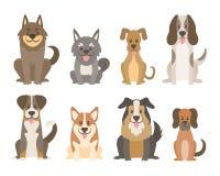 Χαριτωμένη συλλογή σκυλιών στο ύφος κινούμενων σχεδίων διανυσματική απεικόνιση