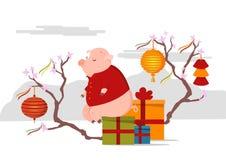 Χαριτωμένη συνεδρίαση χοίρων στο κιβώτιο με τα δώρα κινεζικό νέο έτος έννοιας στοκ εικόνες